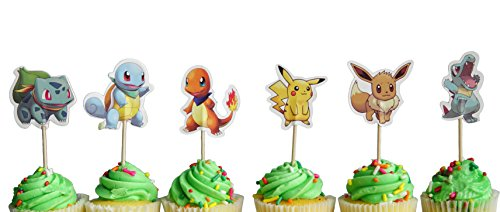 Set of 24 Pokemon inspired Cupcake Toppers food picks double sided by Kate & Jake