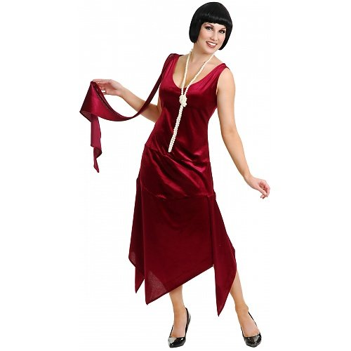 Sandy Speak Easy 1920s Flapper Costume Plus Size Wine