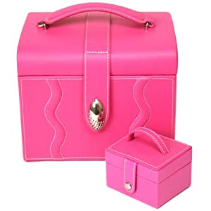 Paylak TS395PINK Pink Leather Large Jewelry Box with Rhinestone Buckle and Travel Case from Paylak
