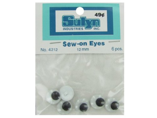 6 pc 12mm sew-on eyes - Pack of 48