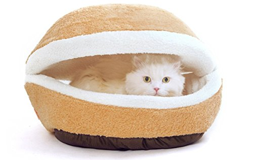 Modovo Washable Shell-shaped Burger Bun Pet Bed Cat Bed Dog Sleeping Bag for 12 Pounds (5.5KG) Pet (M-size)