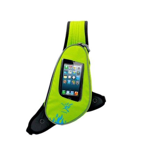NICEANDKIS ジョギングポーチ ランナーポーチ 2ポジション ランニング ショルダータイプ イヤホンの専用穴付 2点固定式なのでブラブラしない (黄緑)