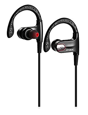 Bluetooth Headphones,Ansin Voice Dialing Wireless 4.1 Bluetooth Headset True HD Stereo Sound Super Bass Noise Cancelling Sports Earphones In-ear Earbuds with Mic for iOS and Android Cellphone-Black