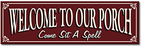 My Word Keyhole and Peg Stand Sign, 5 by 16-Inch, Welcome to Our Porch