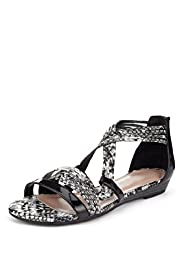 Faux Snakeskin Print Strappy Wedge Sandals