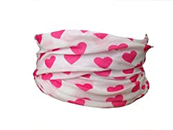 Multifunction Neckwarmer, Snood, Hat, Scarf and Hood in White with Pink hearts print by Monogram