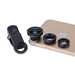 [New Clip One] VicTsing® Clip 180° Fish-Eye Lens+Wide Angle Lens+Micro Lens 3-in-1 Easy-Use Camera Lens Kits (Black) for iPhone 6 6 Plus 5 5C 5S 4S 4 3GS iPad mini iPad Air 4 3 2 Samsung Galaxy S4 S3 S2 Note 3 2 1 Sony Xperia L36h L36i HTC ONE Phones with Flat Camera (Wide Angle Lens and Macro Lens are connected together)