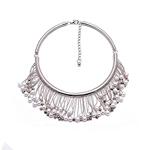 Girl Era Elegant Lady Fine Pearl Tassels,Sleek Choker Collar Jewelry Pendant Necklaces