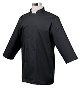 Chef Works JLCL-BLK-2XL Basic 3/4 Sleeve Chef Coat, Black, 2XL