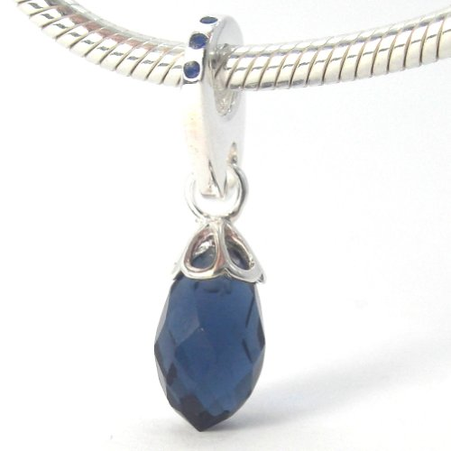 "Pro Jewelry .925 Sterling Silver Dangling ""12Mm Navy Blue Cubic Zirconia"" Charm Bead For Snake Chain Charm Bracelets"