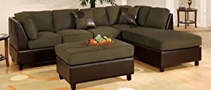 3pcs Sectional Sofa Set with Ottoman in Sage Finish