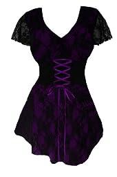 Dare To Wear Victorian Gothic Women\'s Plus Size Sweetheart Corset Top Purple 1X