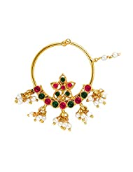Bajirao Inspired Traditional Ethnic Pink Green Flower Pearl Nath Nose Ring For Women By Donna NR31003G