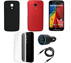 NIROSHA Tempered Glass Screen Guard Cover Case Car Charger for Motorola G2 2nd Gen - Combo