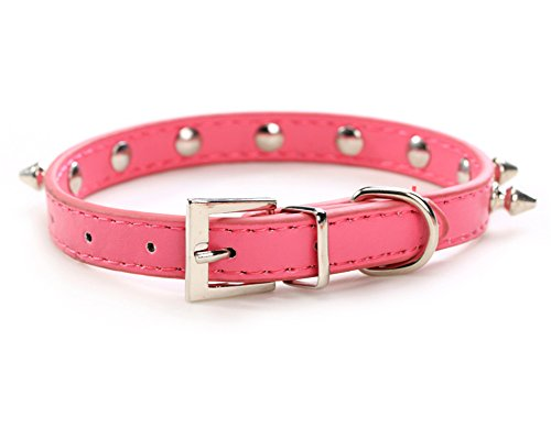 Puppy-league-Pu-Leather-Solid-Pattern-Single-Rows-Bullet-Nail-Studded-Dog-Collars-Chain-for-Pet-Dogs-Chihuahua-Rose-red-XS