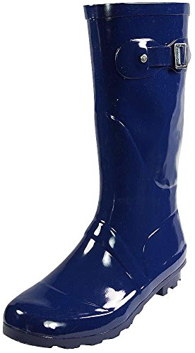 NORTY - Womens Hurricane Wellie Solid Gloss Mid-Calf Rain Boot, Navy 38735-8B(M)US (Rain Boots Blue compare prices)