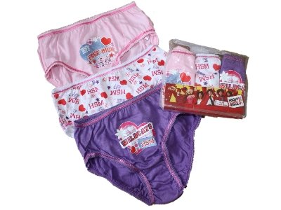 New Girls Official HIGH SCHOOL MUSICAL Cartoon Character Cotton Briefs Underwear 6 brief pack. To Fit Ages 5-6 / 7-8 / 9-10 Years
