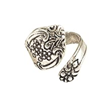 buy Adjustable, Antiqued Spoon Ring, Silver