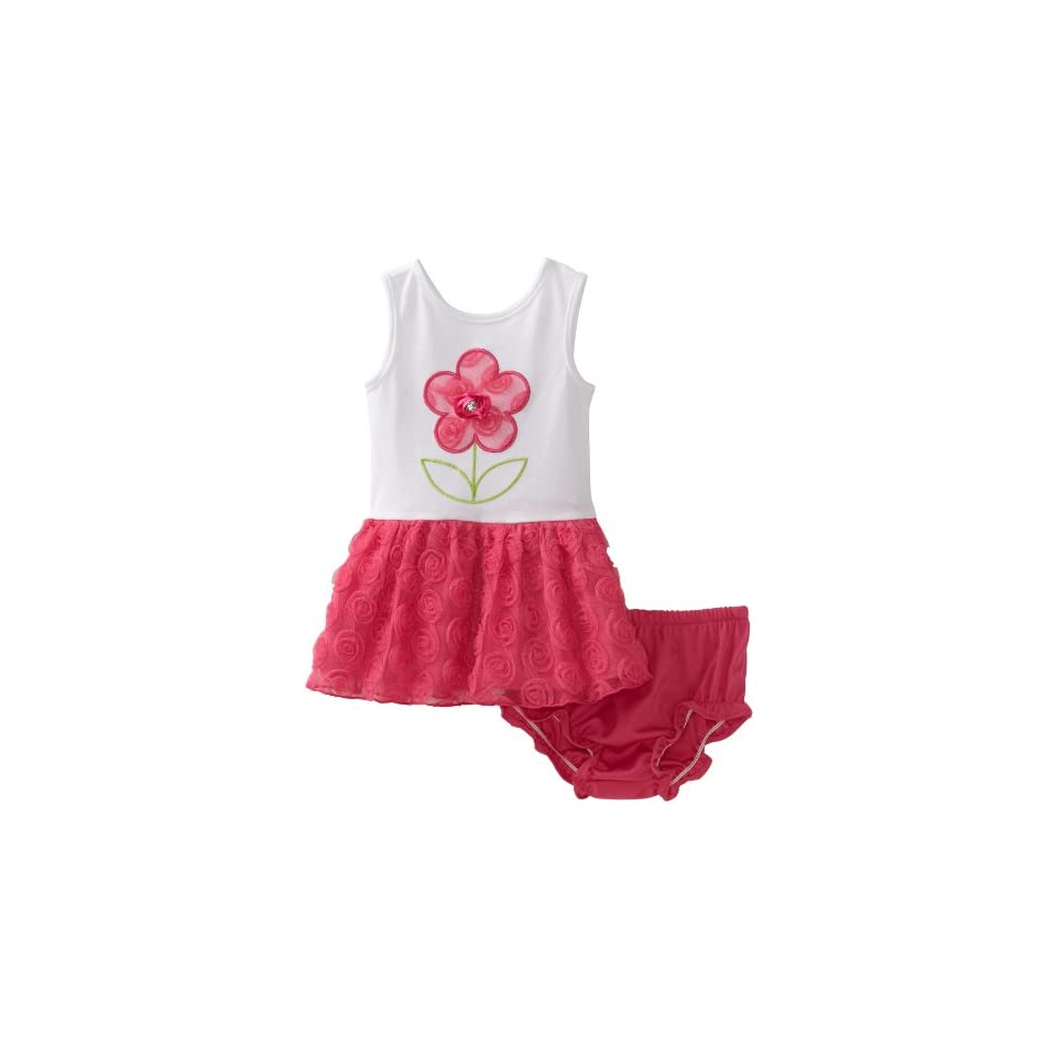 Sweet Heart Rose Baby Girls Knit Flower Sleeveless Dress, White/Pink, 18 Months