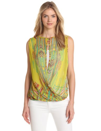 Image of Democracy FRB0322HW1D Women's Double Twist Printed Sleeveless Top