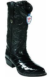 Eel Skin Western Style Boot, Black, J Toe, Leather Sole,