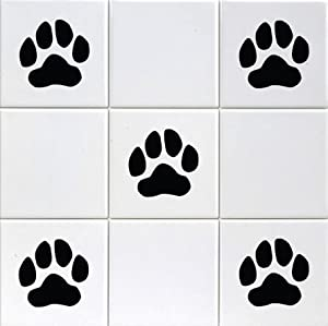 paw prints 39 bathroom kitchen tile sticker set x36 stickers black