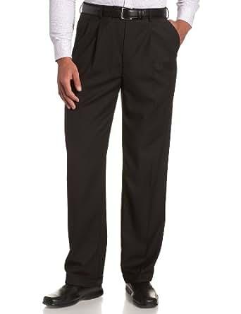 Haggar Men's Luxury Gabardine Ultimate Comfort Pleated Cuffed Dress Pant,Black,34x29