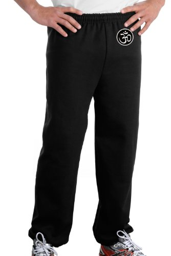 AUM PATCH Mens Yoga OM Pants with Elastic Bottom