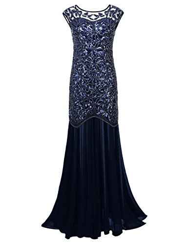 PrettyGuide Women 's 1920s Sequin Gatsby Plus Size Formal Evening Prom Dress XXL Navy