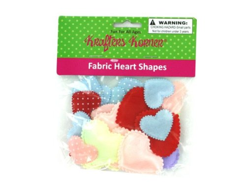 Bag fabric heart shapes, assorted colors - Pack of 48