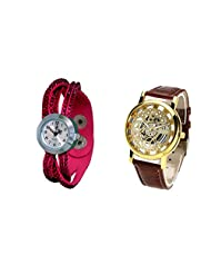 COSMIC COUPLE WATCH- PINK ANALOG DESIGNER WATCH FOR WOMEN AND BROWN SKELETON WATCH FOR MEN