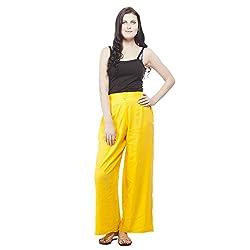 Pistaa Womens Rayon Solid Yellow Ethnic Plazzo Pant Bottom