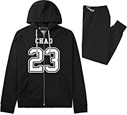 Country Of Chad 23 Team Sport Jersey Sweat Suit Sweatpants Large Black