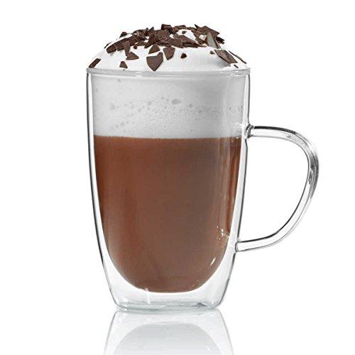 Doppelwandige Tasse 350ml Teetasse Thermotasse Kaffeetasse Glastasse mundgeblasen von Dimono