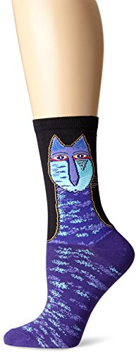 k-bell-laurel-burch-socks-tribal-cat-purplee-acrylic-multicolour