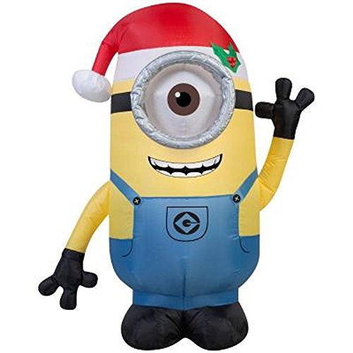 outdoor christmas inflatable 35 ft minion stuart with santa hat blow up lights decoration - Outdoor Blow Up Christmas Decorations