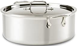 All-Clad 7508 MC2 Professional Master Chef 2 Stainless Steel Tri-Ply Bonded Oven Safe PFOA Free Stockpot with Lid Cookware, 8-Quart, Silver