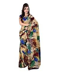 Fabdeal Indian Wear Brown Georgette Printed Saree-QSXSR9092BOC