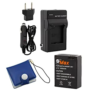 GTMax Replacement GoPro HD HERO3 Battery + Charger with EU / Car Adapter + Memory Card case (Compatible with GoPro AHDBT-201, AHDBT-301)