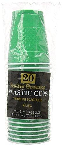 Festive Green Plastic 12oz. Cups 20Ct