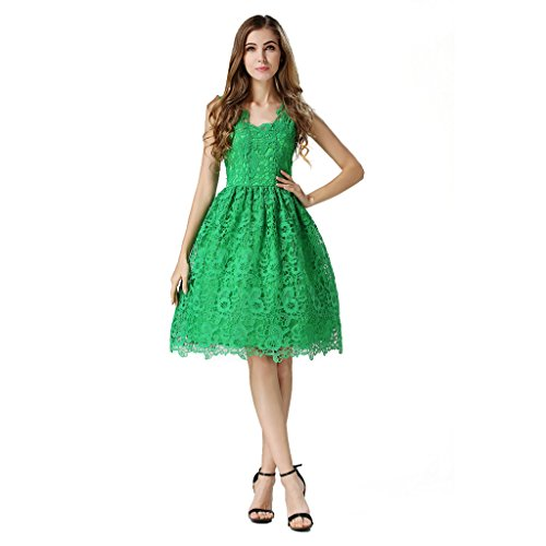 Buenos Ninos Women's Sleeveless Fit and Flare V-neck Short Lace Dress Evening Gown Dress Green L