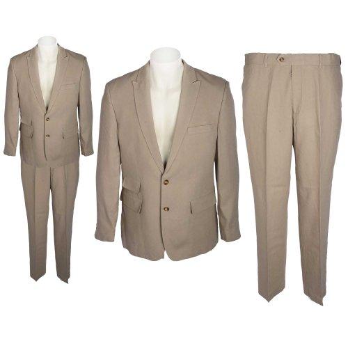 Harbour Collection Men's 2 Piece Stone Coloured Linen Blend Suit in Size Medium
