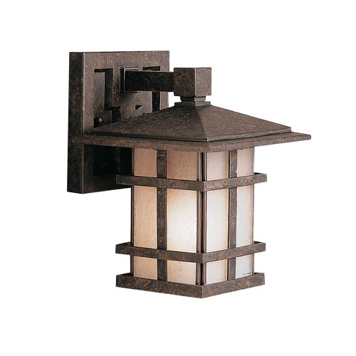 Kichler Lighting 9128Agz Cross Creek 1-Light Outdoor Wall Lantern, Aged Bronze With Textured Linen Seedy Glass