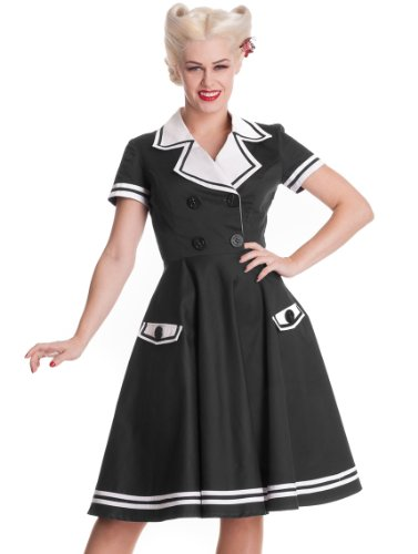 Hell Bunny Black Seafarer Dress S - UK 8 / EU 36