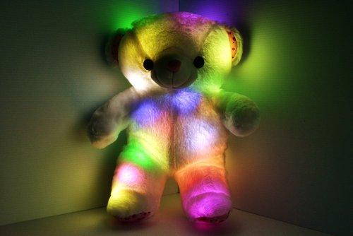 Led Light Up Glow Teddy Bear Pillow Pet - Cashmere & Cotton Blend - Safe Led Lights - Auto Color Rotation - Shaped Illuminated Cushion - Plush Toy front-498198