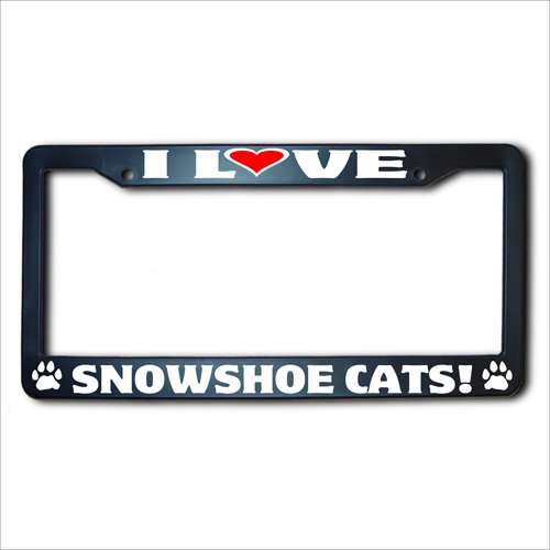 I Love SNOWSHOE Cats REFLECTIVE License Plate