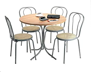 bistro set home four stacking chairs and a round table