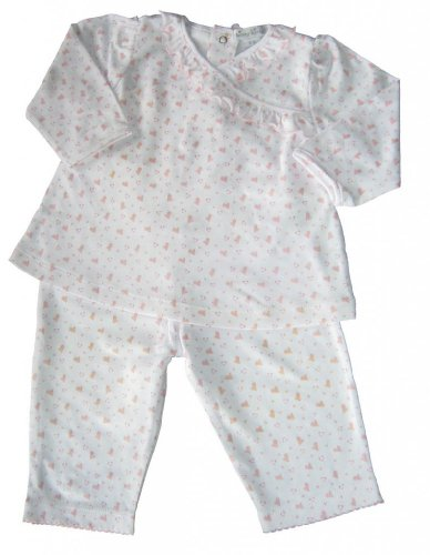 Kissy Kissy Baby Girls' Pant Set W/ V Neck Tee (Baby) - White/Pink - 6-9 Months front-969504