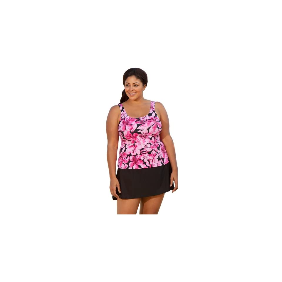 5656f5ce5663a Beach Belle Honolulu Pink Plus Size Tank Skirtini Plus Size Swimsuit  OneColor Size18 Bra Inserts