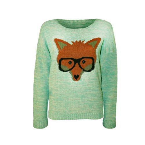 Womens Long Sleeved Fox Glasses Knitted Jumper (Mia) (4/6 (Uk 8/10), Mint Green)